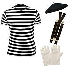 Mens FRENCH MIME fancy dress 4 PIECE SET (Men: 36/38) by PAPER UMBRELLA