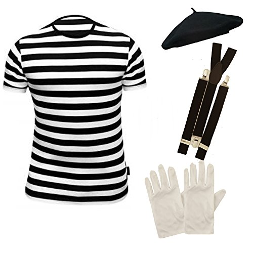 Mens FRENCH MIME fancy dress 4 PIECE SET (Men: 42/44) by PAPER UMBRELLA (Pantomime Dame Kostüme)