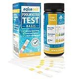 aquaself Poolwasser-Test Basis - Wassertester für Pool auf pH und Chlor und Gesamtalkalinität - 100 Stück Wasserteststreifen - inkl. gratis E-Book