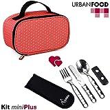 TATAY Urban Food MiniPlus Dots - Bolsa Térmica Porta Alimentos con Táper Hermético Ovalado y Cubiertos Incluidos, Color Dots, Medidas 21.5 x 9 x 12 cm