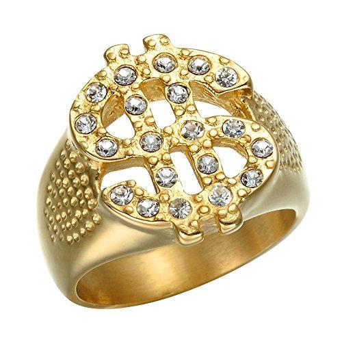 BOBIJOO Jewelry - Ring Siegelring Zeichen US-Dollar $ Goldfarben-fein Gold Edelstahl Strass Bling - 21,6 (12 US), Vergoldet - Edelstahl 316
