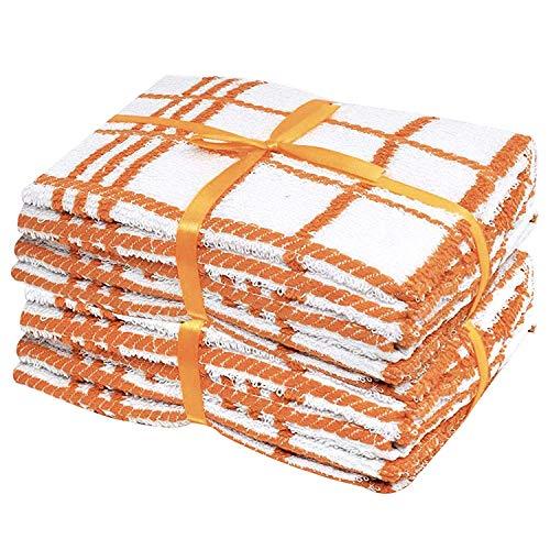 Lot de 6 torchons de cuisine 100 % coton Orange/blanc