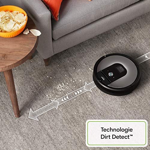 510UdXK1LaL [Bon Plan ] iRobot Roomba 960, aspirateur robot avec forte puissance d'aspiration, 2 brosses anti-emmêlement, idéal pour animaux, capteurs de poussière, parfait sur tapis et sols, connecté, programmable via app