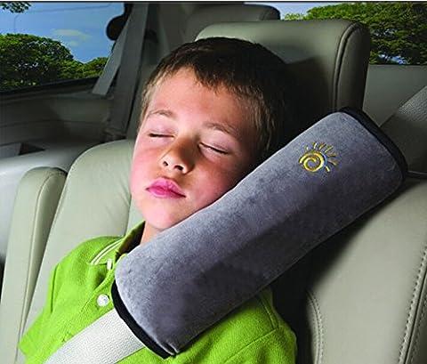Coussin de Ceintures de sécurité Oreiller détachable Pratique et confortable Auto Voiture Protection épaule cou pour Enfants Kids Bébés (Gris)