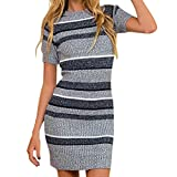 Chnli Women's Striped Round Neck Short Sleeve Bodycon Knit Jumper Sweater Dress