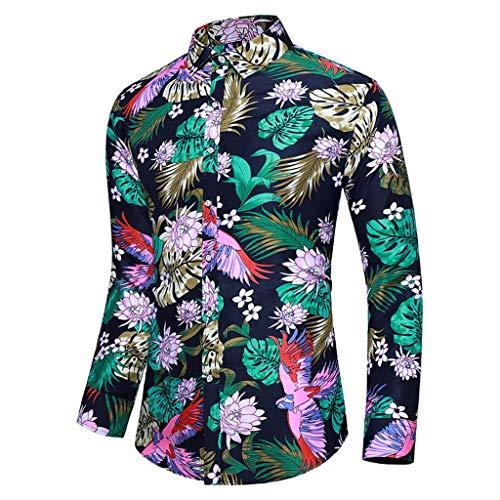 Kostüm Gonzo Kind - Auied Männer Beiläufig Sommer Gedruckt Taste Lange Ärmel hawaiisch Comfortable Fit T-Shirt Bluse