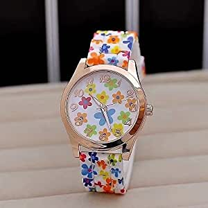 Hot Fashion Women Dress Watch Silicone Printed Flower Causal Quartz Wristwatches(Colorful)