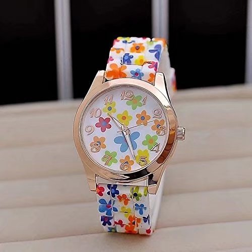 - 510UeWyJCwL - Hot Fashion Women Dress Watch Silicone Printed Flower Causal Quartz Wristwatches(Colorful)
