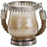 Sammsara Shelly Mini Lantern Hurricane Candle Holder With Jute Handle For Pillar Candles,T Lights Or Votives