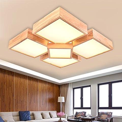 YUPD@Lampada da soffitto Plafoniere Legno massello led lampada da soffitto , (4+1) 72w 620*620 warm (Acquario Light Fixtures)