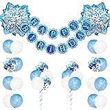JOYMEMO Décorations d'anniversaire Frozen pour Filles avec Ballons Flocon de Neige et Bannière Joyeux Anniversaire pour Décorations de Fête