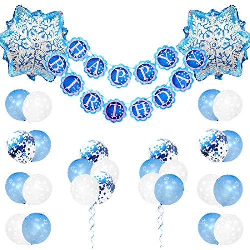 JOYMEMO Gefrorene Geburtstagsdekorationen für Mädchen mit Schneeflocken-Ballons und Gefrorene Happy Birthday Banner für Geburtstagsfeiern (Happy Frozen Birthday)