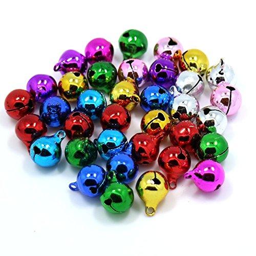 Dosige 100 Pièce de Perles de Noël Cloches de Noël Petite Bell Colorée Mini Bell Tinkle Bells -10 mm Diverses Couleurs