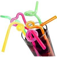 Super Bendy Straws 11inch Neon - Pack of 250 | Creative Straws, Flexi Drinking Straws