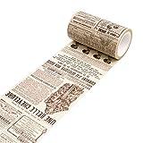 Ruban adhésif décoratif Zhouba - En papier washi - Vintage - Pour lettre, bricolage, scrapbooking, masquer Taille unique English Newspaper...