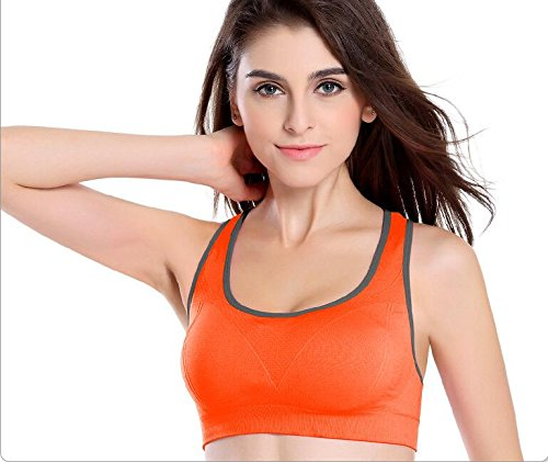 Da.Wa Brassière Soutien-Gorge de Sport Yoga Push Up Rembourre Sans Armature Underwear Bra Orange