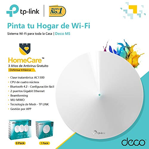 TP-LINK Deco Repetidor de wifi Router Super Mesh wifi inteligente Dual-Band  AC1300 hasta 140² 2 Gigabit, MU-MIMO, con Amazon Alexa e IFTTT(M5-1Pack)