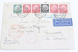 Freiburg Breisgau Luftpost Brasilien Deutschland gelaufen von Butler Dt. Reich