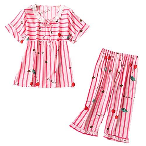 Zegeey Ensemble de Pyjama Femmes Coton vêtement Nuit à Pois d'intérieur Femme, Doux Porter et Confortable Haut Bas Femme été Automne Costume Manches Courtes de Pyjama