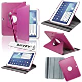 "SAVFY® Housse Etui Luxe Cuir Rotatif pour Samsung Galaxy Tab 3 10.1"" + STYLET + FILM D'ECRAN OFFERTS! - 3en1 Etui de protection Pochette Stand Coque Samsung Galaxy Tab 3 10.1"" P5200 / P5210 / P5220 / GT-P5210ZWAXEF Tablet PU Cuir Style avec fonction Support - Housse avec rotation à 360°Multi Angle Samsung Galaxy Tab 3 10.1 Pouces - Fuschia"