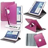 SAVFY Housse Etui Luxe Cuir Rotatif pour Samsung Galaxy Tab 3 10.1' + STYLET + FILM D'ECRAN OFFERTS! - 3en1 Etui de protection Pochette Stand Coque Samsung Galaxy Tab 3 10.1' P5200 / P5210 / P5220 / GT-P5210ZWAXEF Tablet PU Cuir Style avec fonction Support - Housse avec rotation à 360°Multi Angle Samsung Galaxy Tab 3 10.1 Pouces - Fuschia