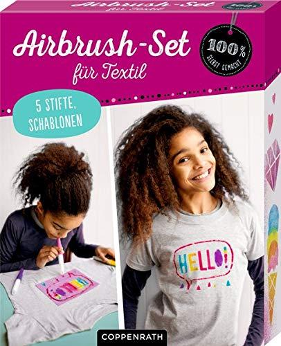 Airbrush-Set für Textil (100{d8c7bf3185042096f3b44671442a3419914661de8e2ec46ad3ff958c58f0eb50} selbst gemacht)