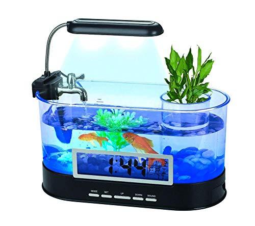 JIANGU fließendes Mini-Aquarium, LED-Laterne, transparenter LCD-Kalender, USB/DC-betriebenes Aquarium - Schwarz