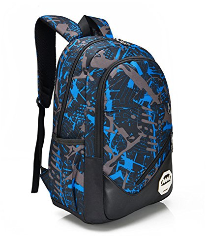 5 All Damen Herren Neu Fashion Gut Aussehend Bergsteigen Tasche Canvas Rucksack Schulrucksack Reisetasche Casual Daypacks Cityrucksack für Universität Outdoor Freizeit 31 x 15 x 46cm Blau