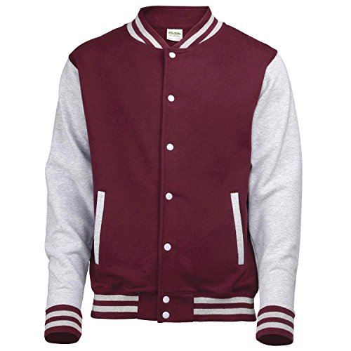 Just Hoods by AWDis Herren Jacke Varsity Jacket Purple/Heather Grey