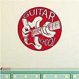 Guitare École Motif Stickers Muraux Mur Art Décor Pour Salon Chambre Décoration Accessoires Vinyle Wall Decal58 * 58Cm...
