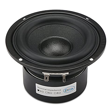 DROK® 40W HIFI Subwoofer Speakers with 87dB High Sensitivity, 4Ω 4-inch Anti-magnetic Loudspeaker with Super Low Bass, Circular Home Woofer Stereo Speakers Super Large Rubber Edge