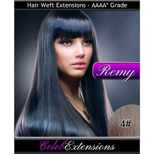 40,6 cm 4 # brun chocolat Indiens 100% humains Remy Hair Extensions capillaires Cheveux. Tissage Silky droit 6 m Poids : 100 g AAAA de grande qualité. Qualité. Par celebextensions