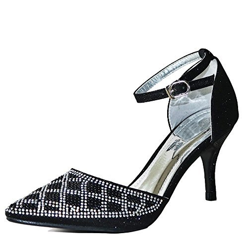 Rock On Styles New Ladies Sparkly Diamante Black Silver Ankle Strap Party...
