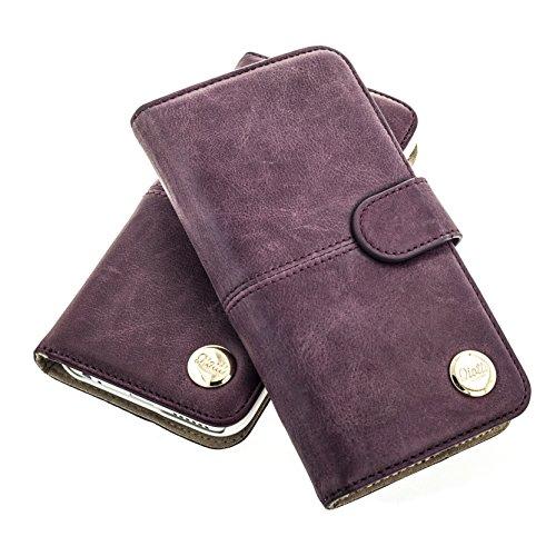 """QIOTTI >          APPLE iPHONE 6 PLUS / 6S PLUS (5,5"""")          < incl. PANZERGLAS H9 HD+ 2-in-1 Booklet mit herausnehmbare Schutzhülle, magnetisch, 360 Grad Aufstellmöglichkeit, Wallet Case Hülle Tasche handgefertigt  LILA"""