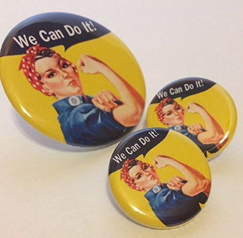 Rosie The Riveter Set de 3 botones de botón de color rosa Pin insignias chica Power Feminist agenda proveedor: superfanails