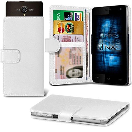 (White) Allview P5 Energy Hülle Abdeckung Cover Case schutzhülle Tasche Verstellbarer Feder Mappe Identifikation-Kartenhalter-Kasten-Abdeckung ONX3