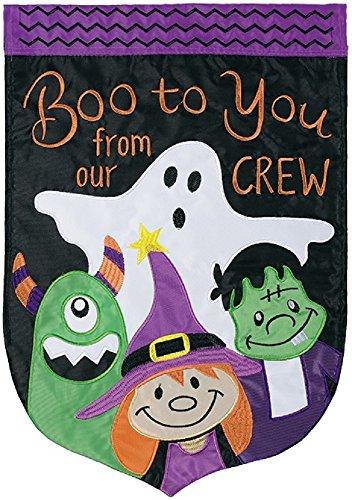 Boo Crew doppelt Aufnäher Garten Flagge