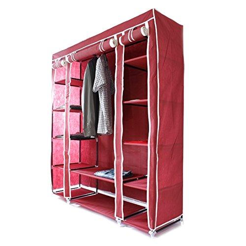 Ecd germany armadio guardaroba rosso xxl 150 x 45 x 175 cm tripla canvas