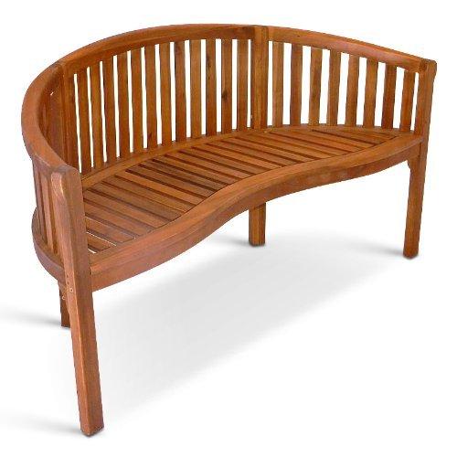 SAM Garten-Bank Bananen-Bank aus Akazien-Holz, FSC 100% zertifiziert, 2 Sitzer Holzbank, Balkon-Bank aus Akazien-Holz geölt, Garten-Möbel braun, Massiv-Holz-Bank für Terrasse, 124 cm...
