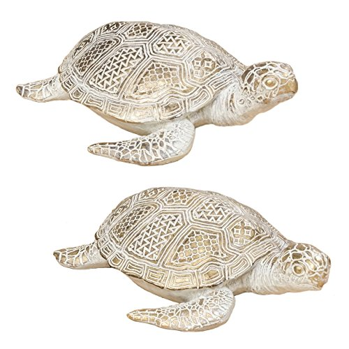 Home Collection Set of 2 White and Gold Assorted Turtles OF 26 cm and Synthetic Resin Decorative Figure Home Decoration Garden Animal Figures