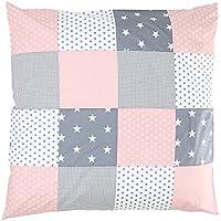 ULLENBOOM ® Baby Bettdeckenbezug 80x80 - in 10 Farb-Designs (auch als Kinderwagendecke, Stubenwagen Decke oder Dekokissen geeignet, Patchwork Design)