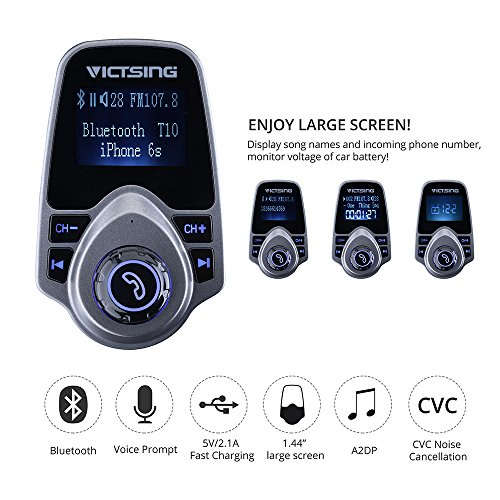 VicTsing Bluetooth FM Transmitter, Wireless In-Car FM Transmitter Radio  Adapter Car Kit With USB Car
