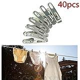 OUNONA 40pcs Edelstahl Wäscheklammern Metall Clips Multifunktion Bekleidung Klemmen Clothes Pegs