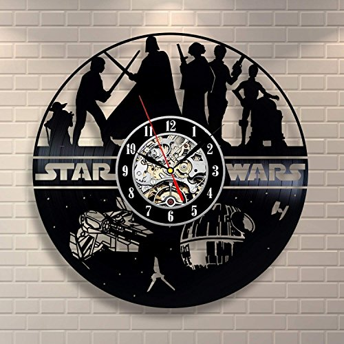 Meet Beauty Ding Star Wars Death Vader Wanduhr, kreatives Design Vinyl LP-Platte handgefertigt hängende Uhr