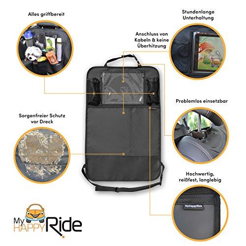 Premium Rückenlehnenschutz (2 Stück), Große Taschen und iPad-/Tablet-Fach, Auto Rücksitz-Organizer für Kinder, Autositz-Schoner wasserdicht, Kick-Matten-Schutz in universeller Passform