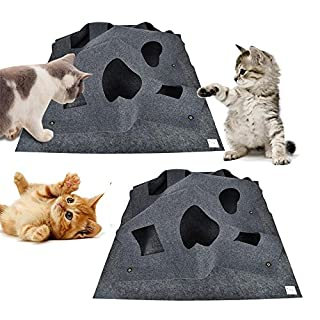 AUOKER Cat Activity Play Mat/Pad, Collapsible Cat Agility Training Rug Mat for Cats/Hamsters/ Rabbits/Squirrels Hide-And-Seek Playing, Cat Scratching Thermal Bed Mat Playing Blanket Interactive Toy