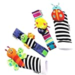 4pcs/lot toys kid wrist rattle baby learning & education toy for 0-12 months baby foot sock Infant newborn plush toys