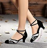 Mme DaMonicv square dancing Shoes Chaussures de danse latine dans l'été avec des chaussures de danse Chaussures de danse avec fille Sandales femme ,38, les ornements d'argent noir 5cm