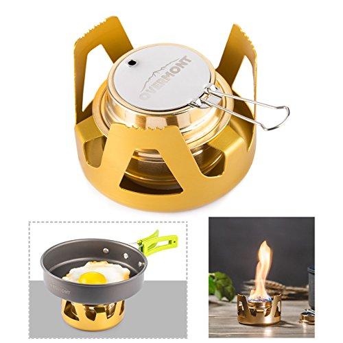 Overmont Mini Kupfer Spirituskocher Campingkocher mit Aluminium Ständer für Camping Wandern Ausflug Reise Gold/ Grau/ Olivgrün