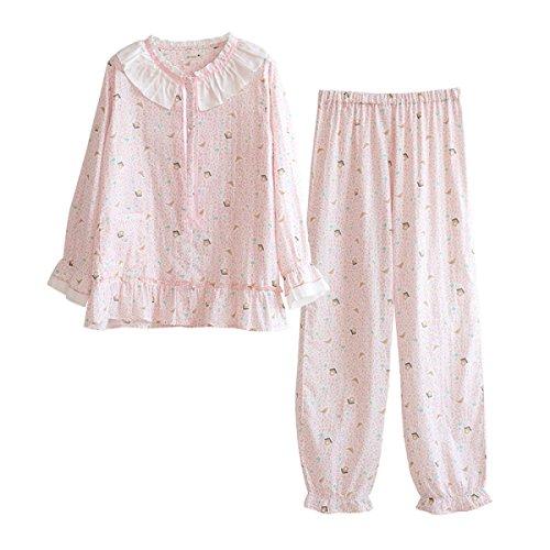 GSHGA Damen Pyjama Baumwolle Langer Ärmel Süß Und Niedlich Frühling Und Sommer Dünner Abschnitt Home-Service Studenten Pink